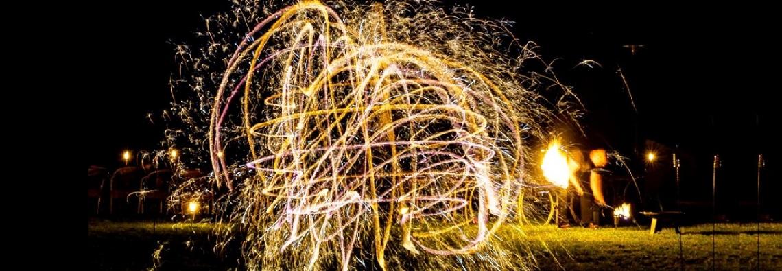 Feuershow Funkenkreiszur hochzeit